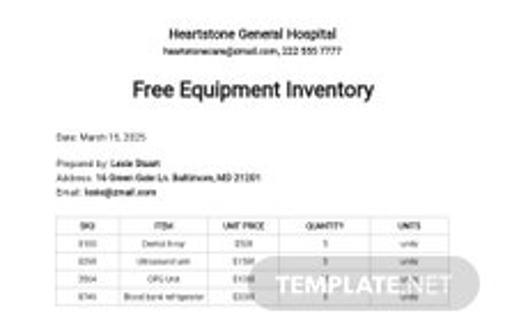 Free Equipment Inventory Spreadsheet Template