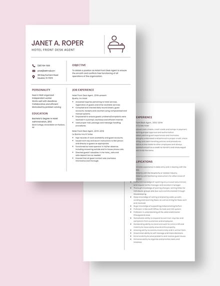 Hotel Front Desk  Agent Resume Download