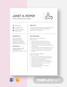 Hotel Front Desk Agent Resume Template
