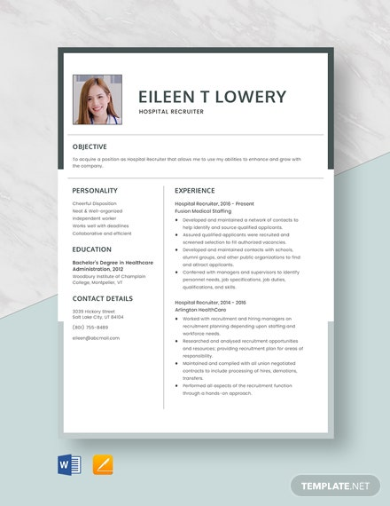 Hospital Recruiter Resume Template