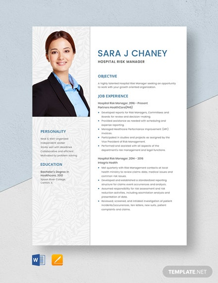 Hospital Risk Manager Resume Template