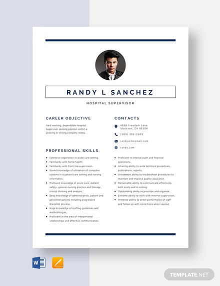 Hospital Supervisor Resume Template
