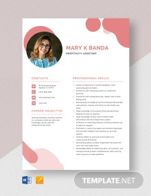 Hospitality Assistant Resume Template