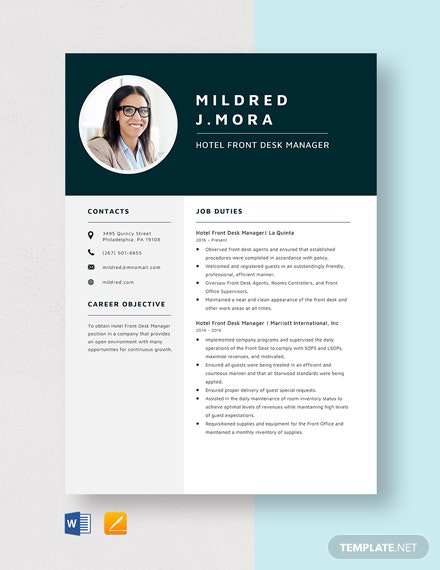 Hotel Front Desk Manager Resume Template