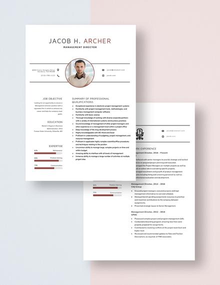 Management Director Resume Download