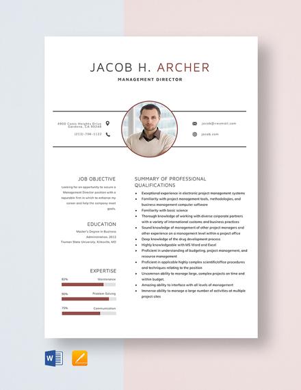 Management Director Resume