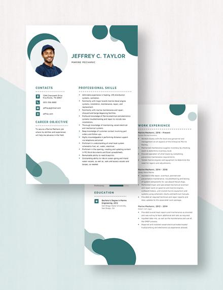 Marine Mechanic Resume Download