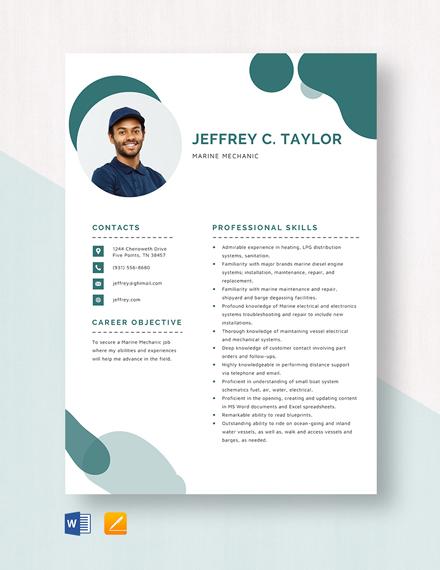 Marine Mechanic Resume
