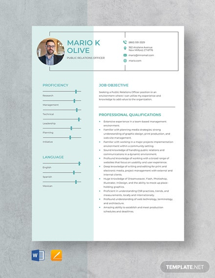 Public Relations Officer Resume Template