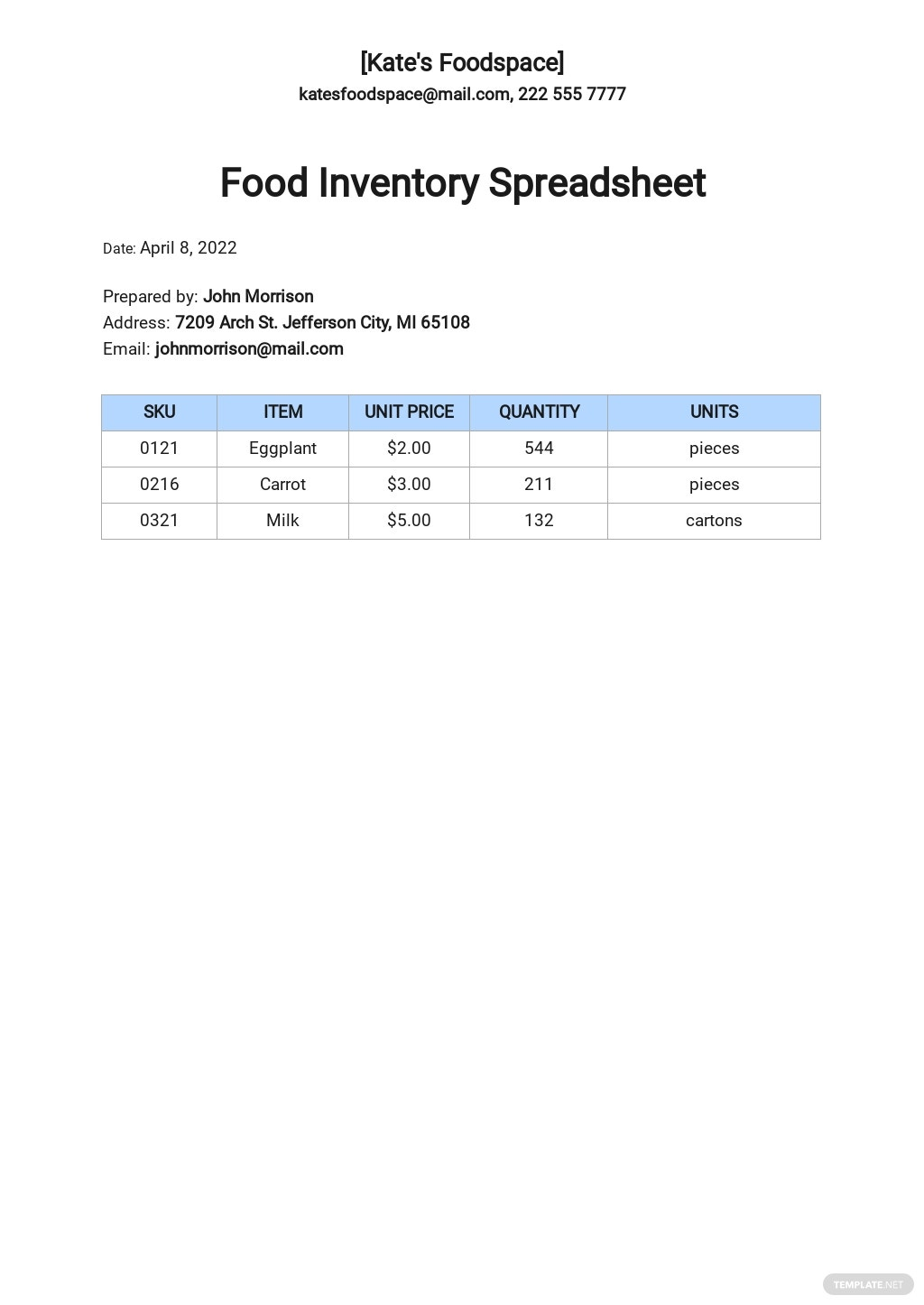Free Food Inventory Spreadsheet Template.jpe
