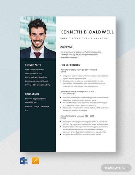 Public Relationship Manager Resume Template