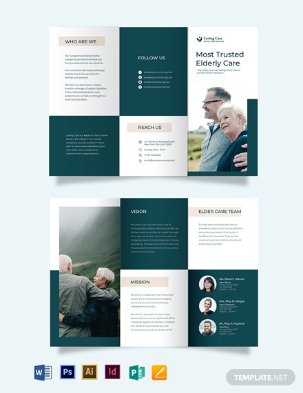 elder senior care tri fold brochure template