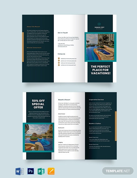 Resort Promotional Tri-Fold Brochure Template