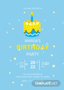 Baby Blue and Gold Invitation Template