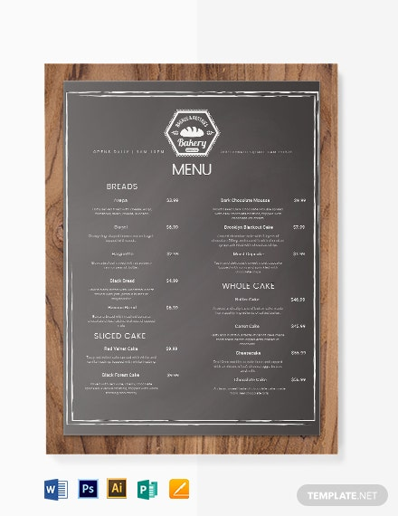 Chalkboard Bakery Menu Template