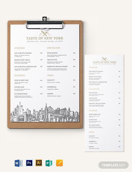 Dinner Menu Board Template