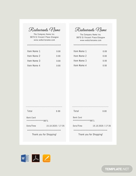 Free Restaurant Receipt Template