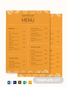 Downloadable Bakery Menu Template