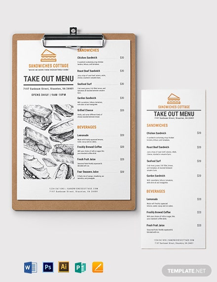 Editable Takeaway Menu Template