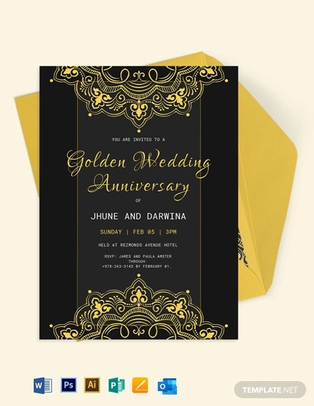 Golden Wedding Anniversary Template