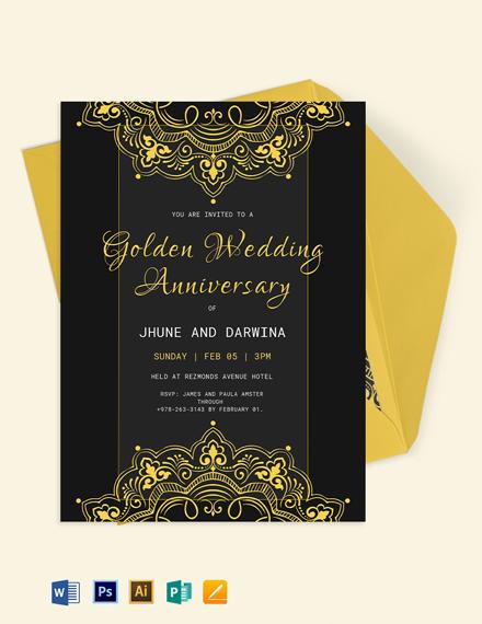 Golden Wedding Anniversary Template