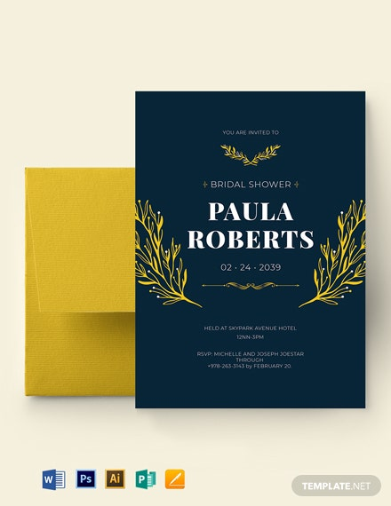 Leaves of Gold Bridal Invitation Template