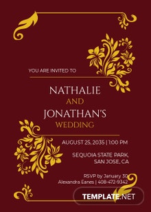 Maroon and Gold Wedding Invitation Template