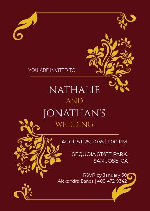 Maroon and Gold Wedding Invitation Template.jpe