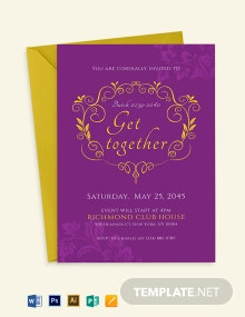 Purple Gold Get Together Invitation Template