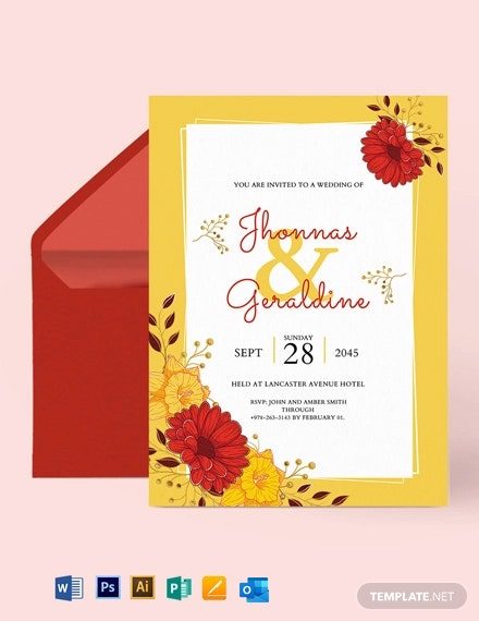 Red Gold Wedding Invitation Template