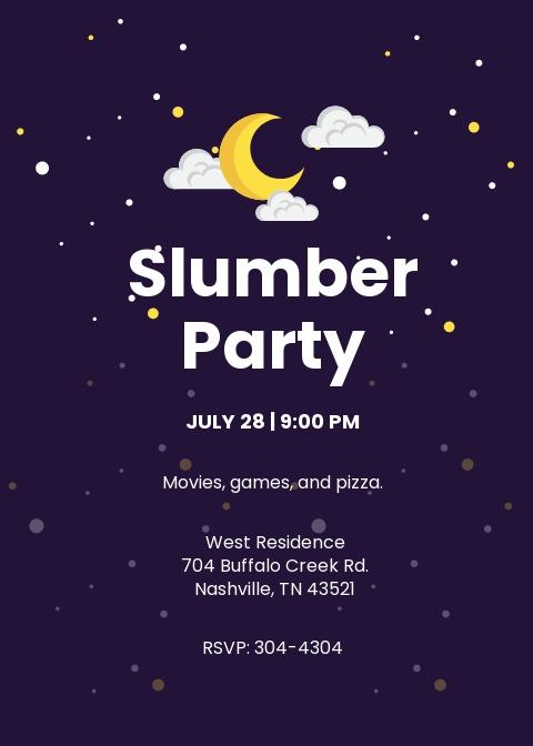 Printable Slumber Party Invitation Template