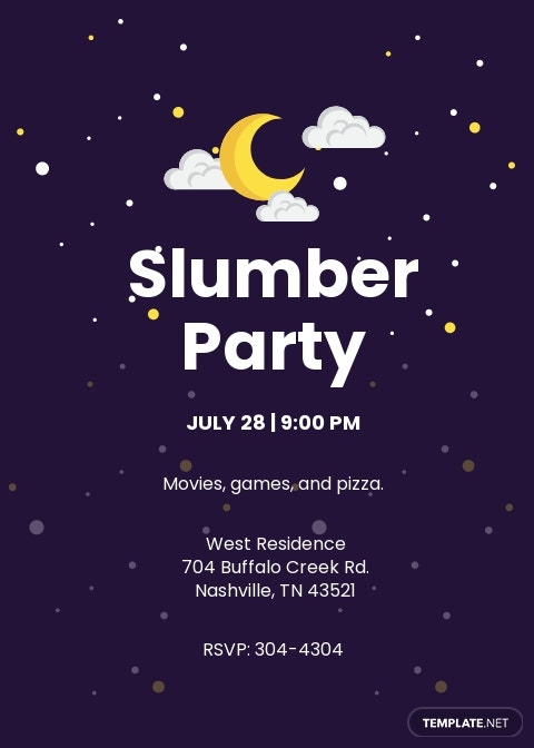 Printable Slumber Party Invitation Template