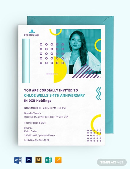 Staff Anniversary Date Invitation Template