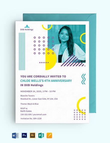 Staff Anniversary Date Invitation Template