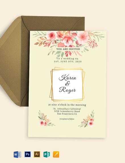 Summer Floral Wedding Invitation Template