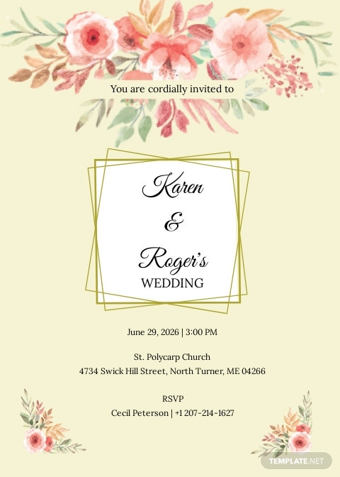 Summer Floral Wedding Invitation Template