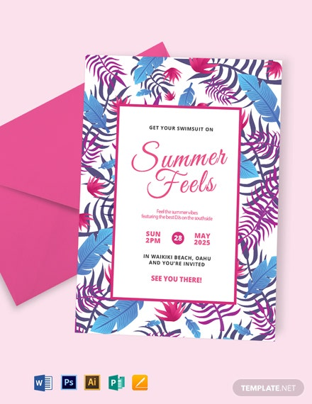 Creative Summer Party Invitation Template