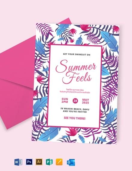 Creative Summer Party Invitation Template