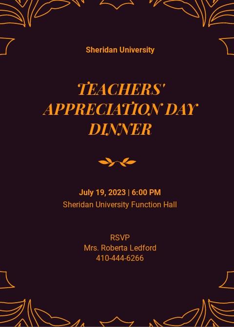 Teacher Appreciation Dinner Invitation Template