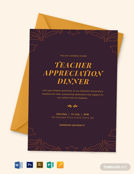 Teacher Appreciation Dinner Invitation Template