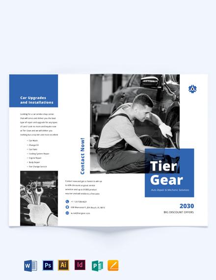 Auto Repair Mechanic Bi-Fold Brochure Template