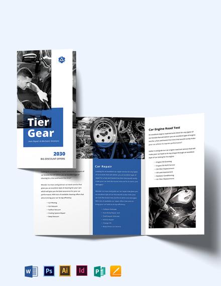 Auto Repair Mechanic Tri-Fold Brochure Template