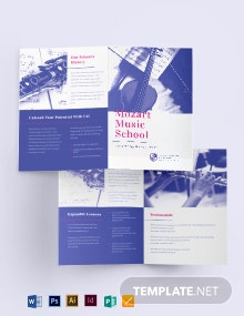 Modern Music School Bi-Fold Brochure Template