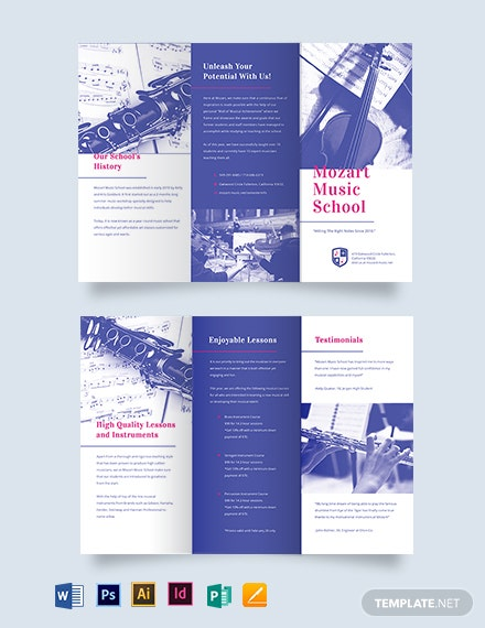 Modern Music School TriFold Brochure Template