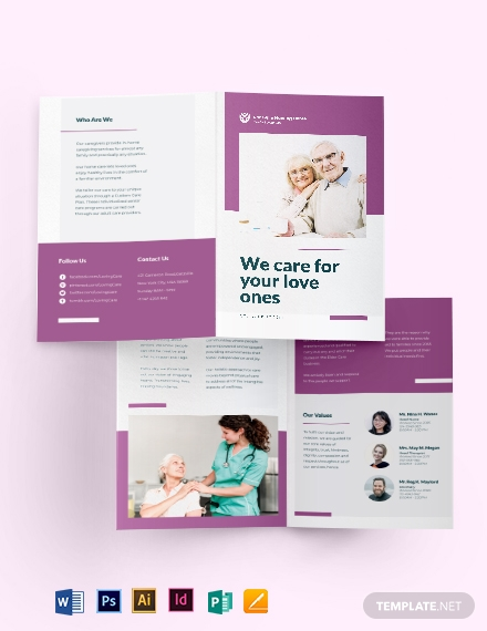 elder care   nursing home bi fold brochure template