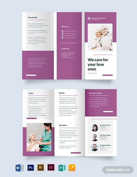 Elder Care & Nursing Home Tri-Fold Brochure Template