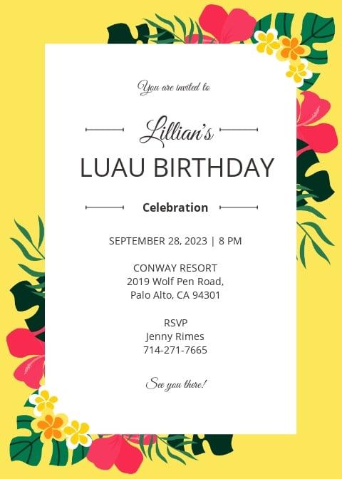 Luau Birthdy Party Invitation Template