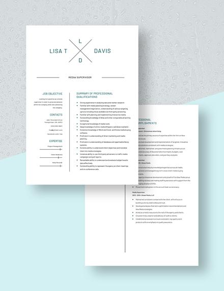 Media Technician Resume Download
