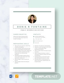 Public Information Officer Resume Template