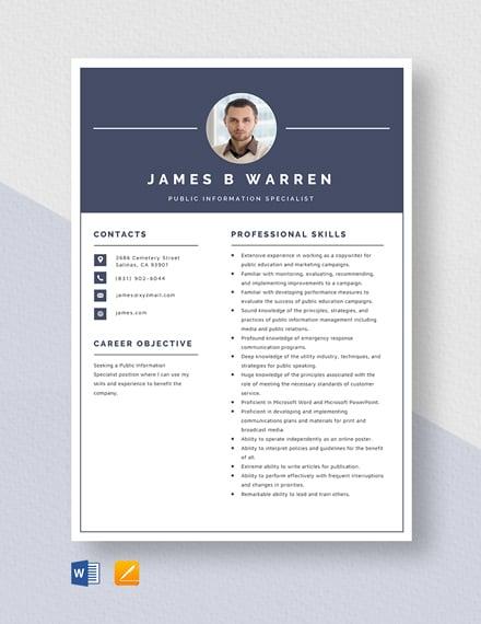 Public Information Specialist Resume Template
